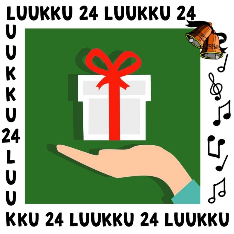 Luukun 24 kuvassa käsi pitelee lahjapakettia