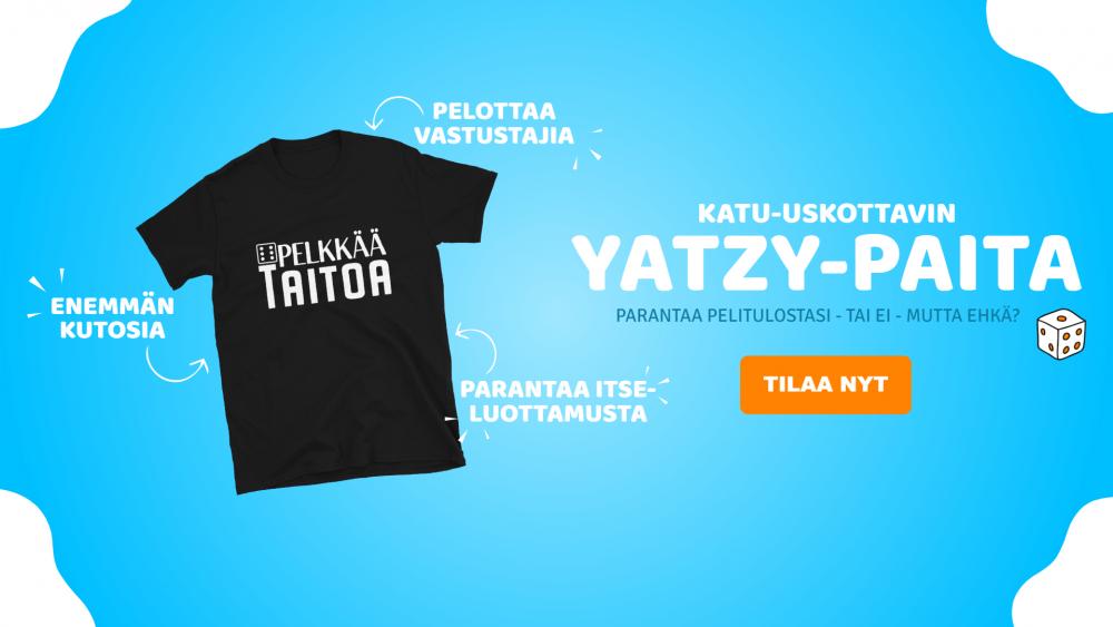 Kuvassa Yatzy paita ja tilaa nyt -painike