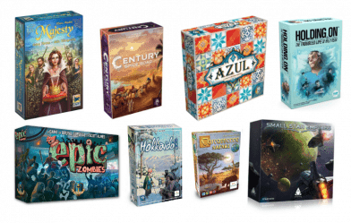 pelit Majesty, Century spice road, Azul, Holding on, Tiny epic zombies, Hokkaido, Carcassonne safari & Small star empires