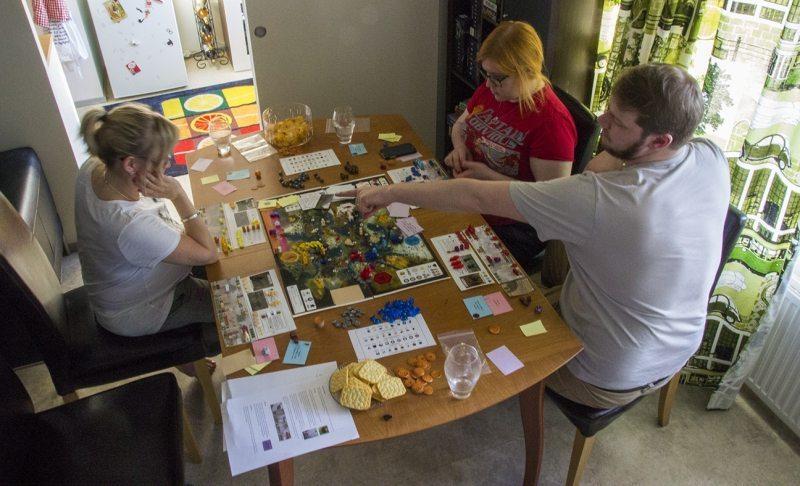 Playing Scythe boardgame prototype