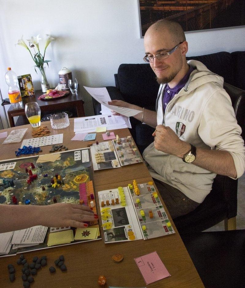 Scythe boardgame prototype - happiness