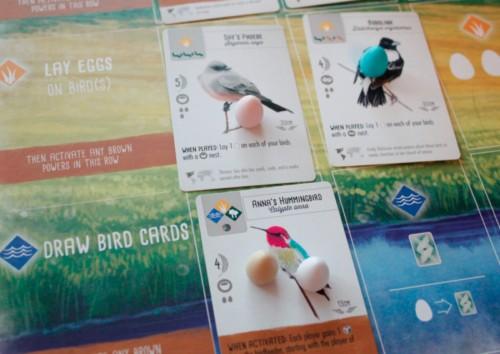 Lintukortteja pelaajalaudalla